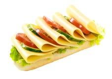 Baguette végétarienne saine du Gouda et de salade Photos libres de droits