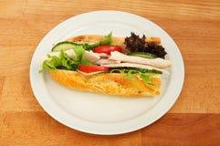 Baguette van Turkije en van de salade Stock Foto's