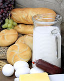 Baguette and various breads and foods on Wall background stock image