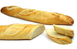 Baguette, on white background. Sliced Baguette , on white background Stock Photography