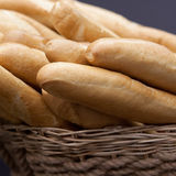 Baguette white bread in the basket Royalty Free Stock Photography