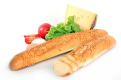 Baguette on white Royalty Free Stock Photo