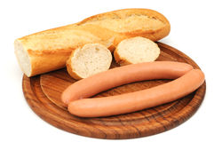 Baguette with wieners Stock Photography