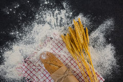 Baguette wrapped in paper, wheat grains and flour Stock Image