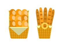 Baguettes and Buns in Wooden Basket Vector Bakery vector illustration