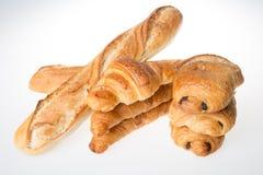 Baguettes croissants και έννοια σοκολατών ψωμιών του γαλλικού αρτοποιείου Στοκ φωτογραφία με δικαίωμα ελεύθερης χρήσης