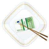 Baguettes de plat et cent euro paquets Photographie stock