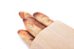 Baguettes francesi in un sacco di carta Immagini Stock Libere da Diritti