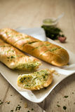 Baguettes with herb butter Stock Photography