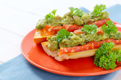 Baguettes with salami and guacamole Royalty Free Stock Image