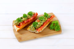 Baguettes with salami and guacamole Royalty Free Stock Photo