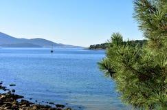 Bahía con el árbol del barco y de pino de navegación Rocas y agua clara, mar azul y día soleado del bosque, Galicia, España fotos de archivo