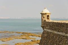 Bahía de Cádiz en la puesta del sol Fotografía de archivo libre de regalías