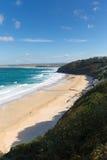 Bahía de Carbis cerca de St Ives Cornwall England con la playa arenosa foto de archivo libre de regalías