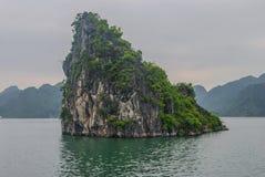 Bahía de Halong, roca en el agua Foto de archivo
