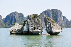 Bahía de Halong, VIETNAM - rocas del pollo Fotografía de archivo