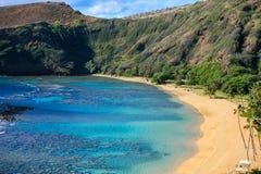 Bahía de Hanauma, popular para nadar y bucear, Oahu, Hawaii fotos de archivo