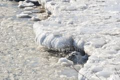 Bahía de Humber del hielo y del espray de la orilla Imagen de archivo