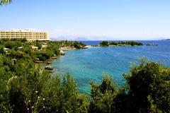 Bahía de Kommeno, Corfú, Grecia Foto de archivo