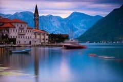Bahía de Kotor en Perast, Montenegro Fotos de archivo libres de regalías