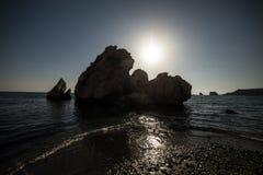 Bahía de la puesta del sol del Aphrodite Foto de archivo