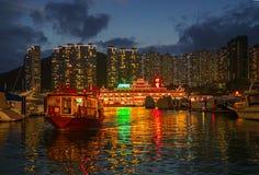 Bahía de la repulsión, Hong Kong - 19 de noviembre de 2015: El jumbo flotante mundialmente famoso del restaurante Imágenes de archivo libres de regalías