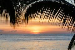 Bahía de la travesía del barco en la puesta del sol vista de la playa del Caribe enmarcada por las palmeras Fotos de archivo libres de regalías