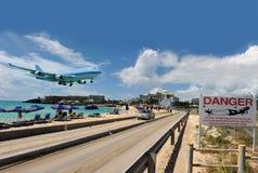 Bahía de Maho en San Martín, del Caribe Fotos de archivo libres de regalías