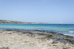 Bahía de Mellieha Foto de archivo