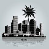 Bahía de Miami con Jetski Ilustración del vector Foto de archivo