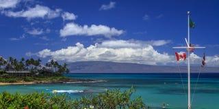 Bahía de Napili y la isla de Lanai en el fondo Fotos de archivo libres de regalías