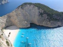Bahía de Navagio en la isla de Zakynthos Fotografía de archivo libre de regalías