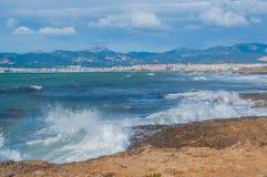 Bahía de Palma de la vista al mar en febrero Fotografía de archivo libre de regalías