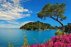 Bahía de Portofino en costa ligur en Italia Imagen de archivo