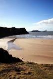 Bahía de Rhossili de la cabeza del gusano, País de Gales Imagenes de archivo