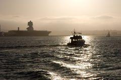 Bahía de San Diego en la puesta del sol Fotos de archivo libres de regalías