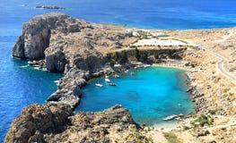 Bahía de San Pablo. Rodas. Grecia Fotos de archivo libres de regalías