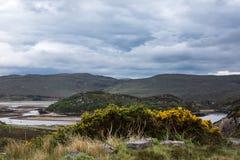 Bahía de Scourie durante la bajamar, Escocia Fotos de archivo