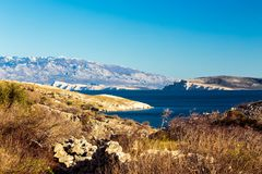 Bahía de Stara Baska en krk Foto de archivo