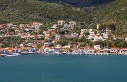 Bahía de Vathi de la isla de Ithaki en Grecia Imagen de archivo