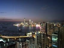 Bahía de Victoria de la opinión de Hong-Kong Kowloon Imágenes de archivo libres de regalías