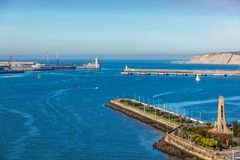 Bahía del EL Abra y embarcadero y orilla del mar, España de Guecho foto de archivo libre de regalías