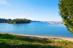 Bahía del misterio, isla de Marrowstone Península olímpica Estado de Washington foto de archivo