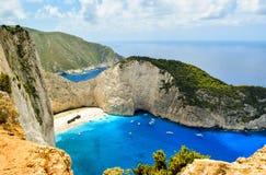 Bahía del naufragio, isla de Zakynthos, Grecia Foto de archivo libre de regalías