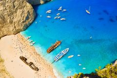 Bahía del naufragio, isla de Zakynthos, Grecia Imágenes de archivo libres de regalías