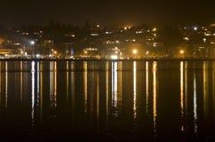 Bahía del puerto en la noche Fotografía de archivo libre de regalías