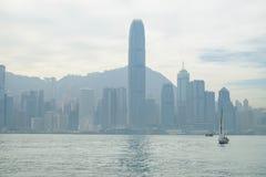 Bahía en el tiempo de mañana, Hong Kong, China de Victoria Imágenes de archivo libres de regalías