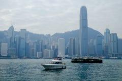Bahía en el tiempo de mañana, Hong Kong, China de Victoria Fotos de archivo