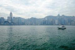 Bahía en el tiempo de mañana, Hong Kong, China de Victoria Imagen de archivo