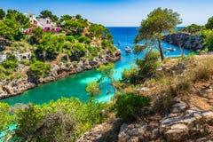 Bahía hermosa de Cala pi, Majorca España Foto de archivo
